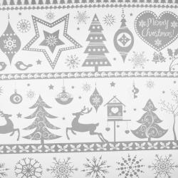 Tkanina wzór świąteczny duże renifery w pasach szare na białym tle