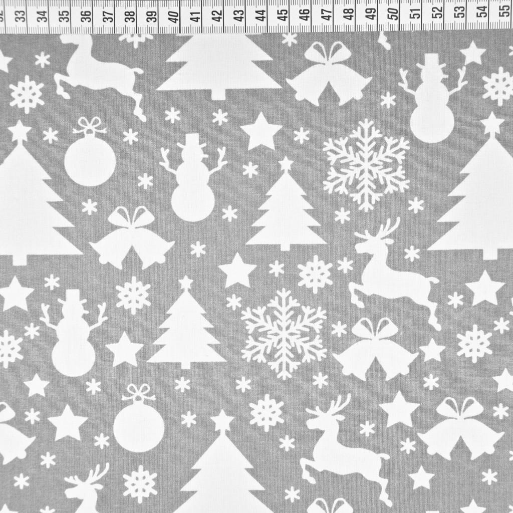 Tkanina wzór świąteczny choinki i bałwanki białe na szarym tle