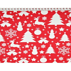Tkanina wzór świąteczny choinki i bałwanki białe na czerwonym tle