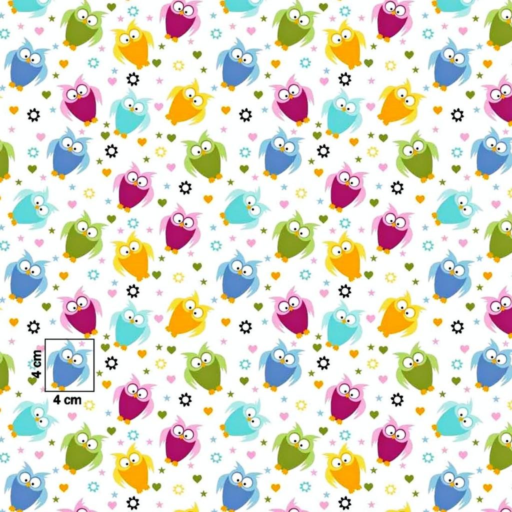Tkanina w sówki małe kolorowe na białym tle