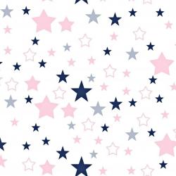 Tkanina gwiazdozbiór różowo granatowy na białym tle