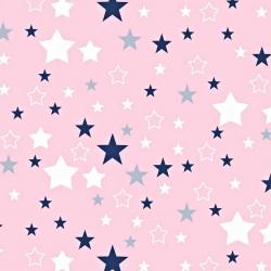 Bawełna gwiazdozbiór biało granatowy na różowym tle