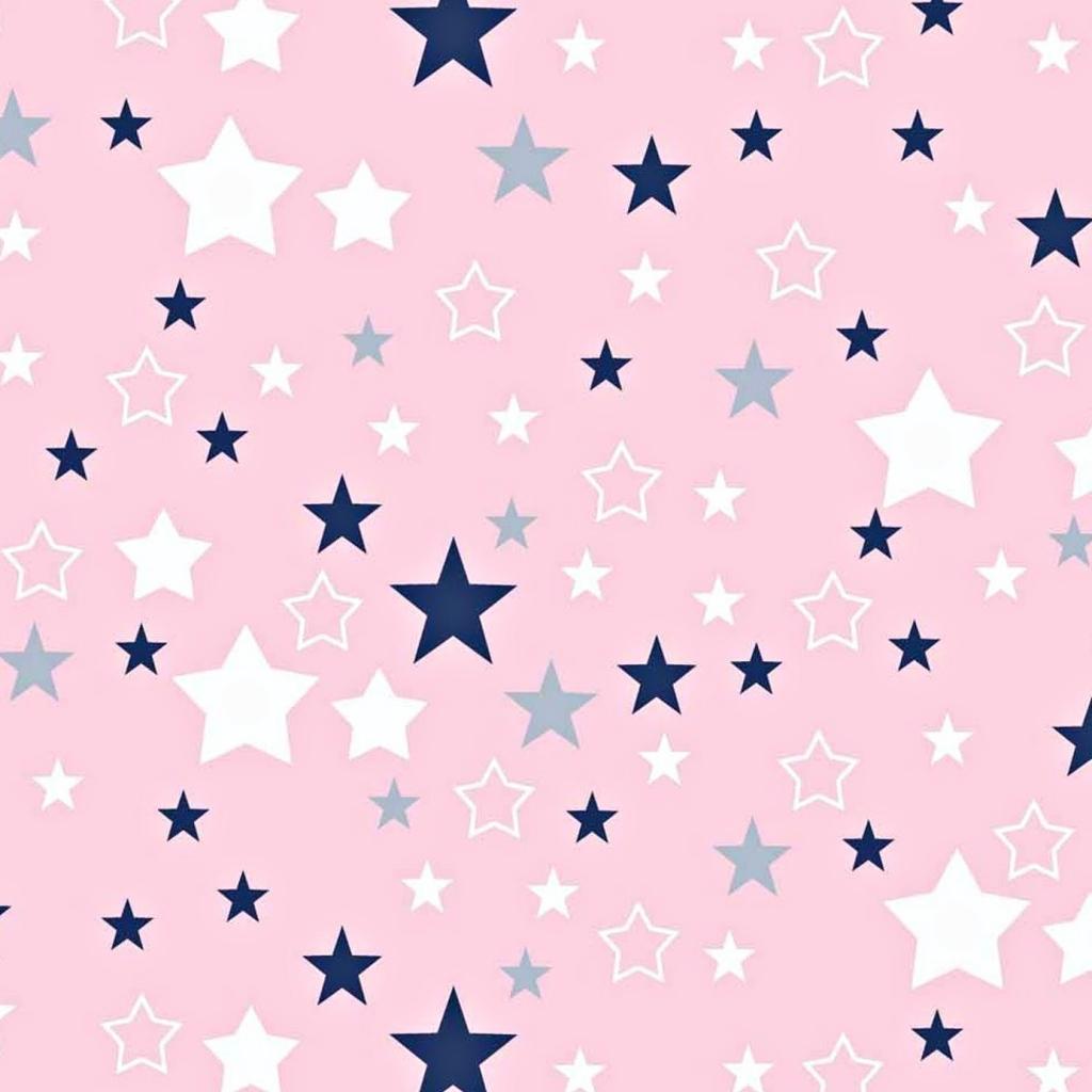 Tkanina gwiazdozbiór biało granatowy na różowym tle