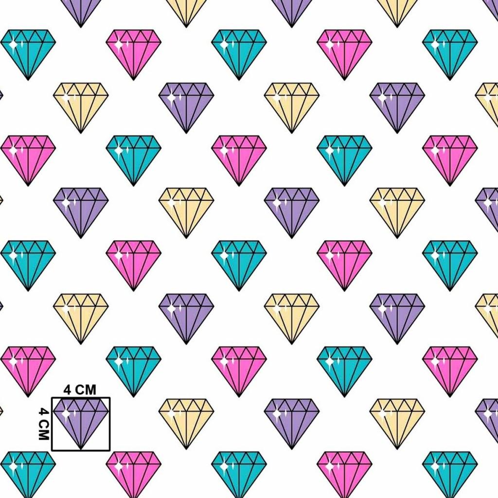 Tkanina w diamenty kolorowe na białym tle