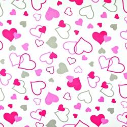 Tkanina w serca LOVE różowo szare na białym tle