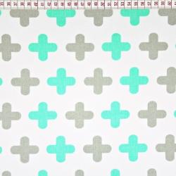 Tkanina w plusy szaro miętowe na białym tle