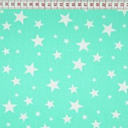 Bawełna gwiazdki małe i duże na miętowym tle