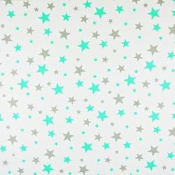 Tkanina w gwiazdki małe i duże szaro miętowe na białym tle