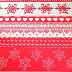 Tkanina w wzór świąteczny z sercami na czerwonym tle