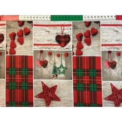 Tkanina wzór świąteczny serca wiszące z kratką dużą