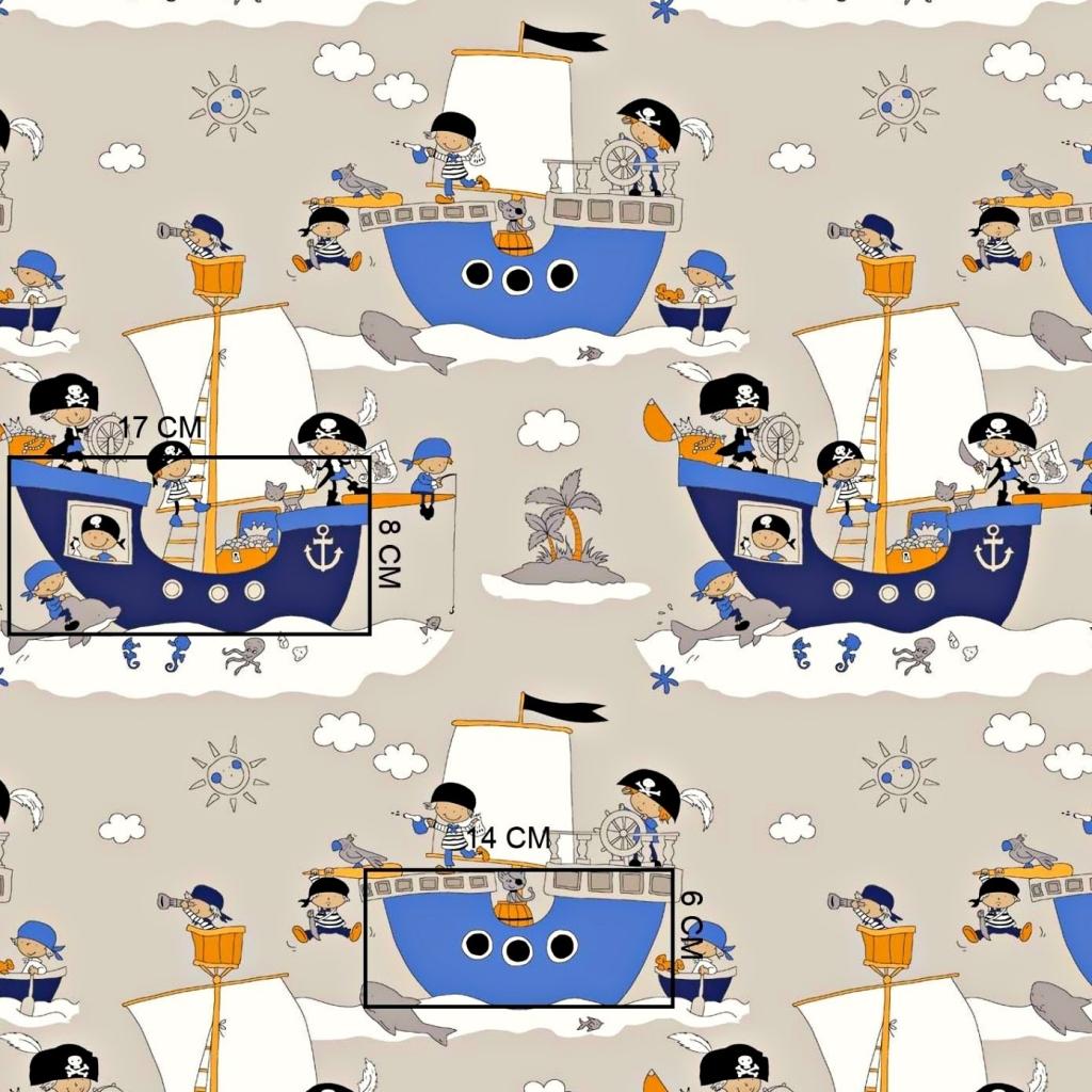 Tkanina w statki pirackie na jasnobeżowym tle