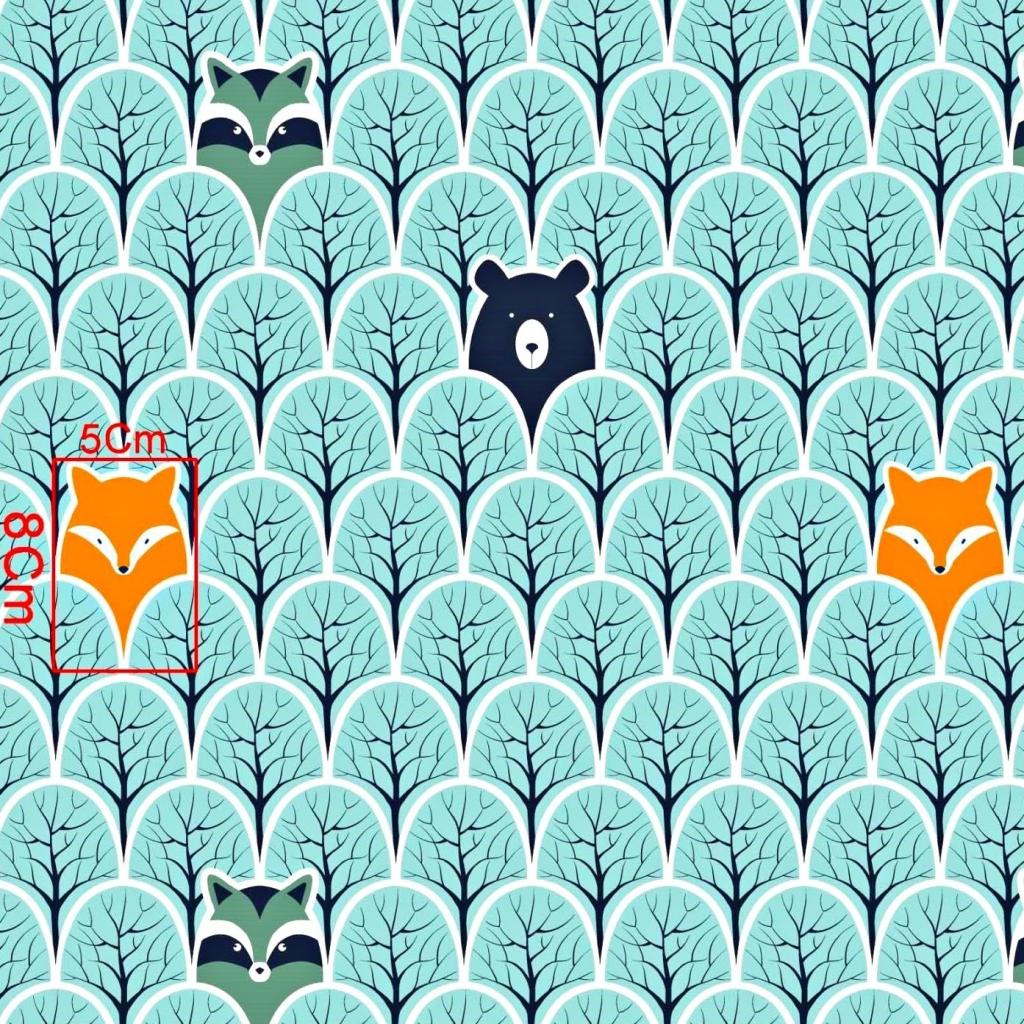Tkanina w szopy i liski w drzewkach miętowych