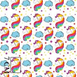 Tkanina w jednorożce tęczowe kolorowe na białym tle
