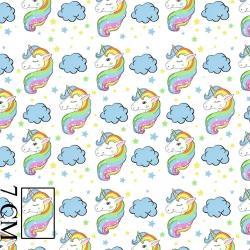 Bawełna jednorożce tęczowe pastelowe na białym tle