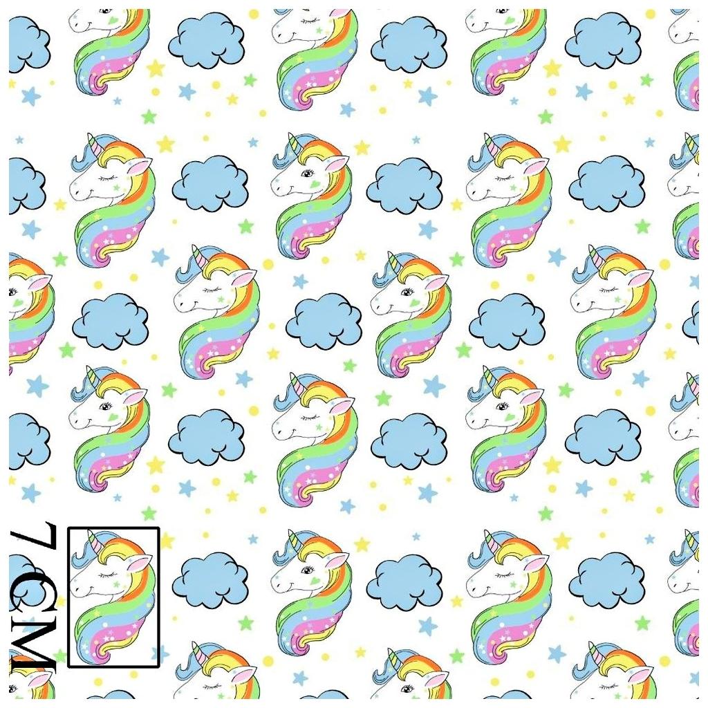 Tkanina w jednorożce tęczowe pastelowe na białym tle