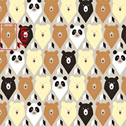 Tkanina w niedźwiedzie na szarym tle