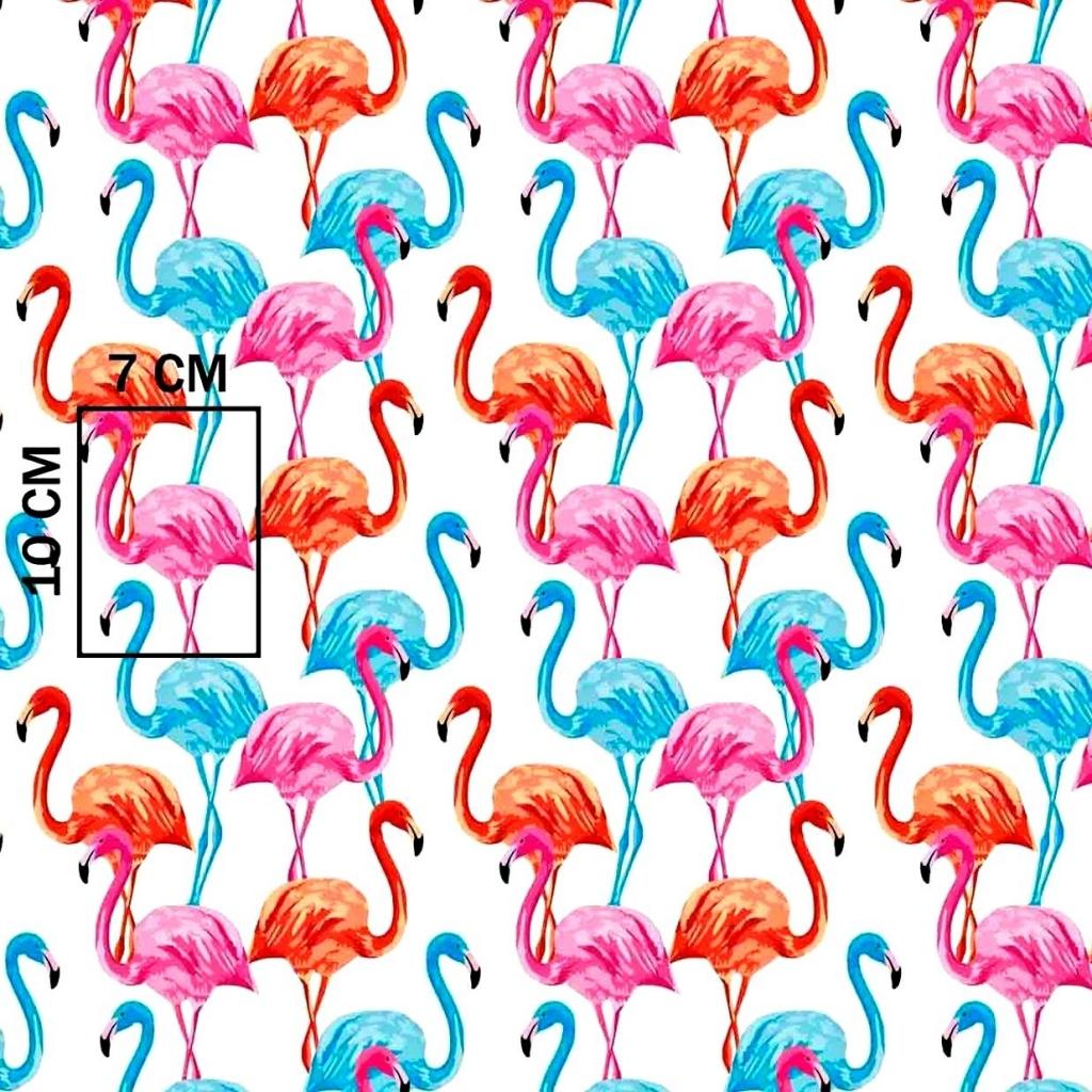 Tkanina w flamingi niebiesko-czerwono-różowe na białym tle