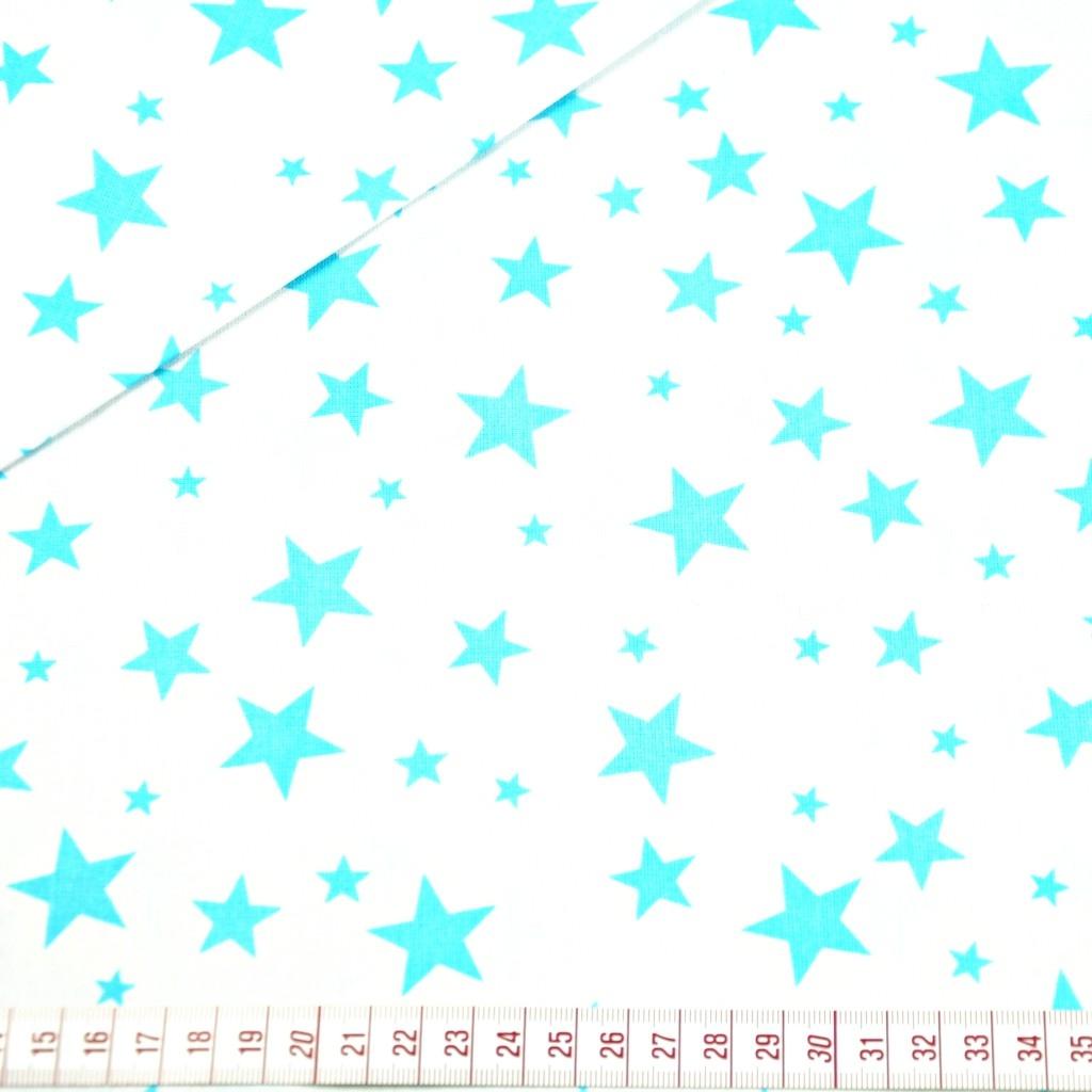 Tkanina w gwiazdki nowe małe i duże turkusowe na białym tle