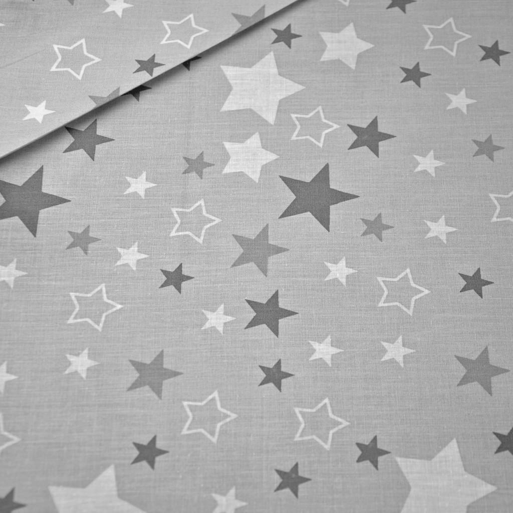 Tkanina gwiazdozbiór biały na szarym tle