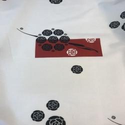 Tkanina Zasłonowa Kwiaty czarne z bordowym CANVAS
