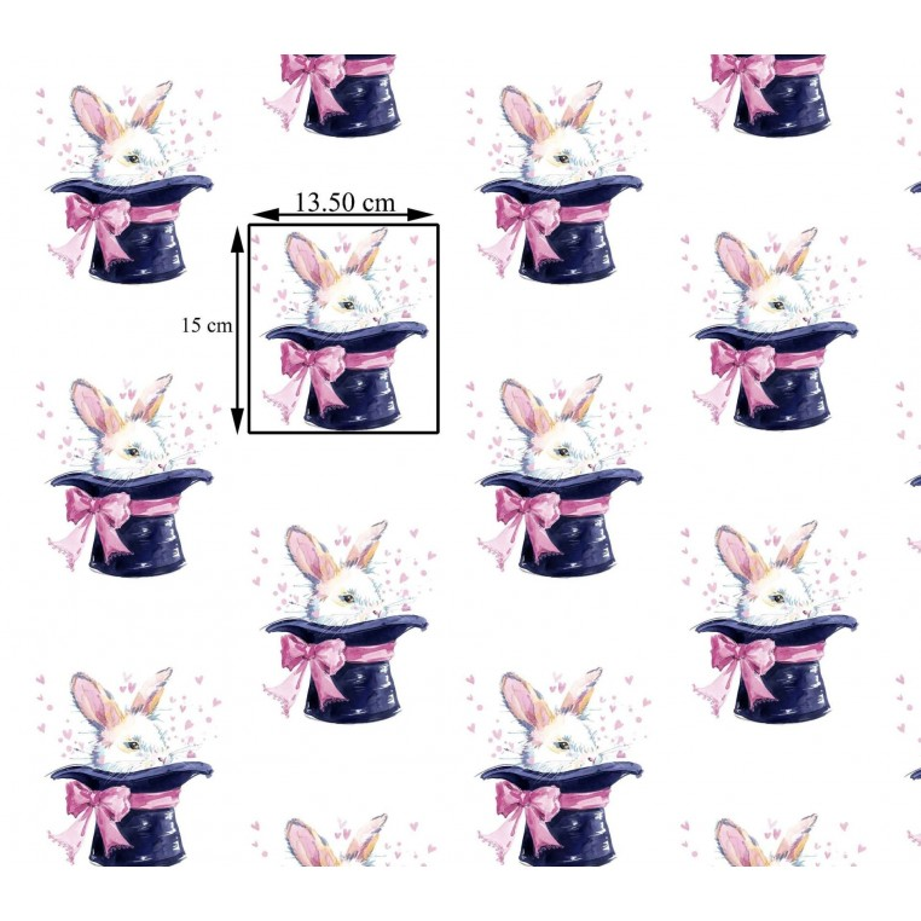 Tkanina w króliki w kapeluszu na białym tle