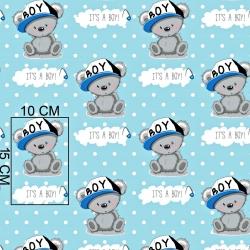 Tkanina w misie BOY na niebieskim w białe kropki tle