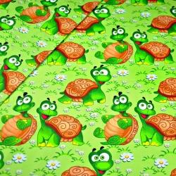 Tkanina w żółwie na zielonym tle