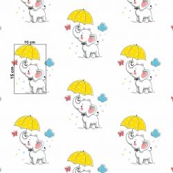 Tkanina w słoniki z żółtymi parasolkami na białym tle