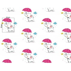 Tkanina w słoniki z różowymi parasolkami na białym tle