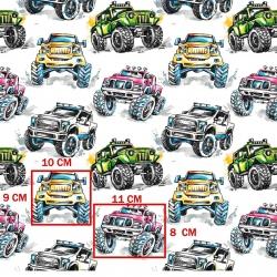 Bawełna samochody terenowe kolorowe na białym tle.