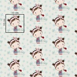 Bawełna dziewczyny z biedronką na miętowo białym tle