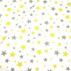 Bawełna gwiazdki nowe szaro żółte na białym tle