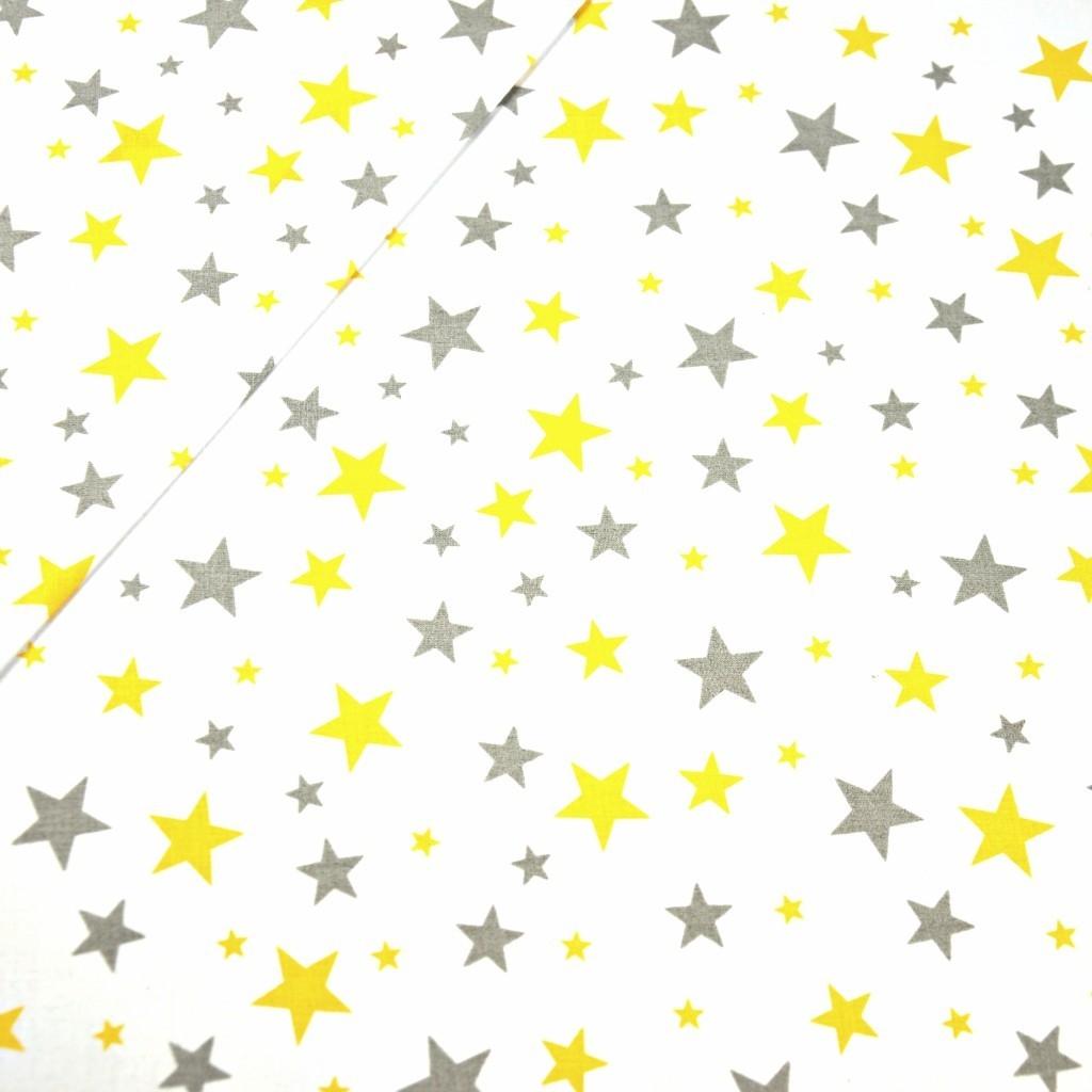 Tkanina w gwiazdki nowe szaro żółte na białym tle