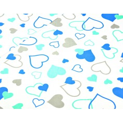 Bawełna serca LOVE niebiesko miętowe na białym tle