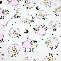 Tkanina w owieczki różowe na białym tle