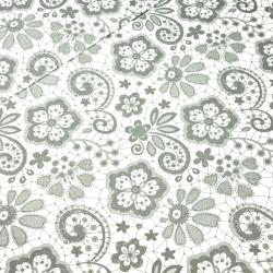 Tkanina serwetka szara na białym tle