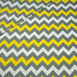 Bawełna zygzak szary i żółty na białym tle