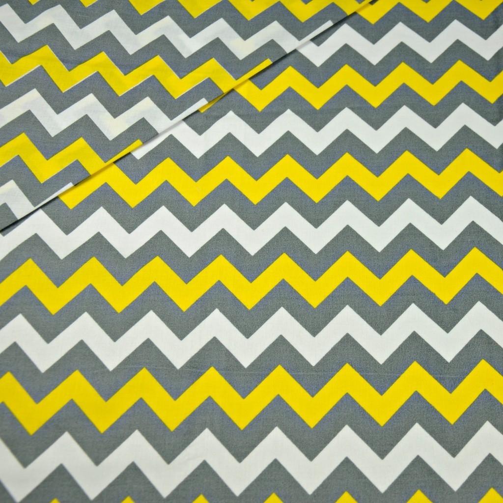 Tkanina zygzak szary i żółty na białym tle