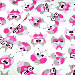 Tkanina w sówki szaro różowe w okularach na białym tle