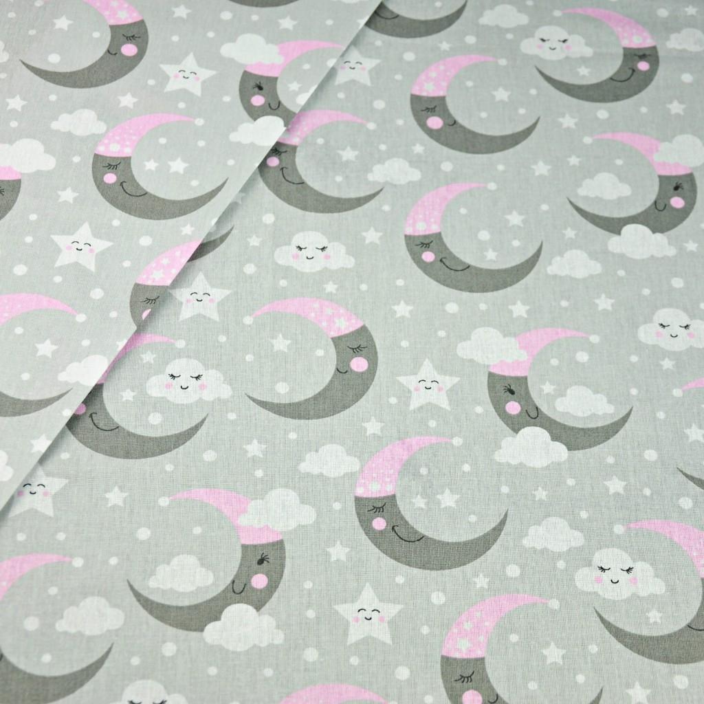 Tkanina w księżyce szaro różowe na szarym tle