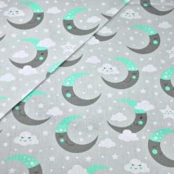 Bawełna księżyce szaro miętowe na szarym tle
