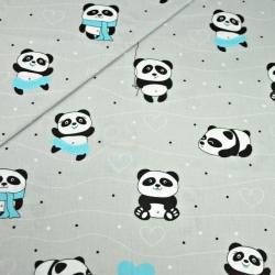 Bawełna pandy z niebieskim na szarym tle