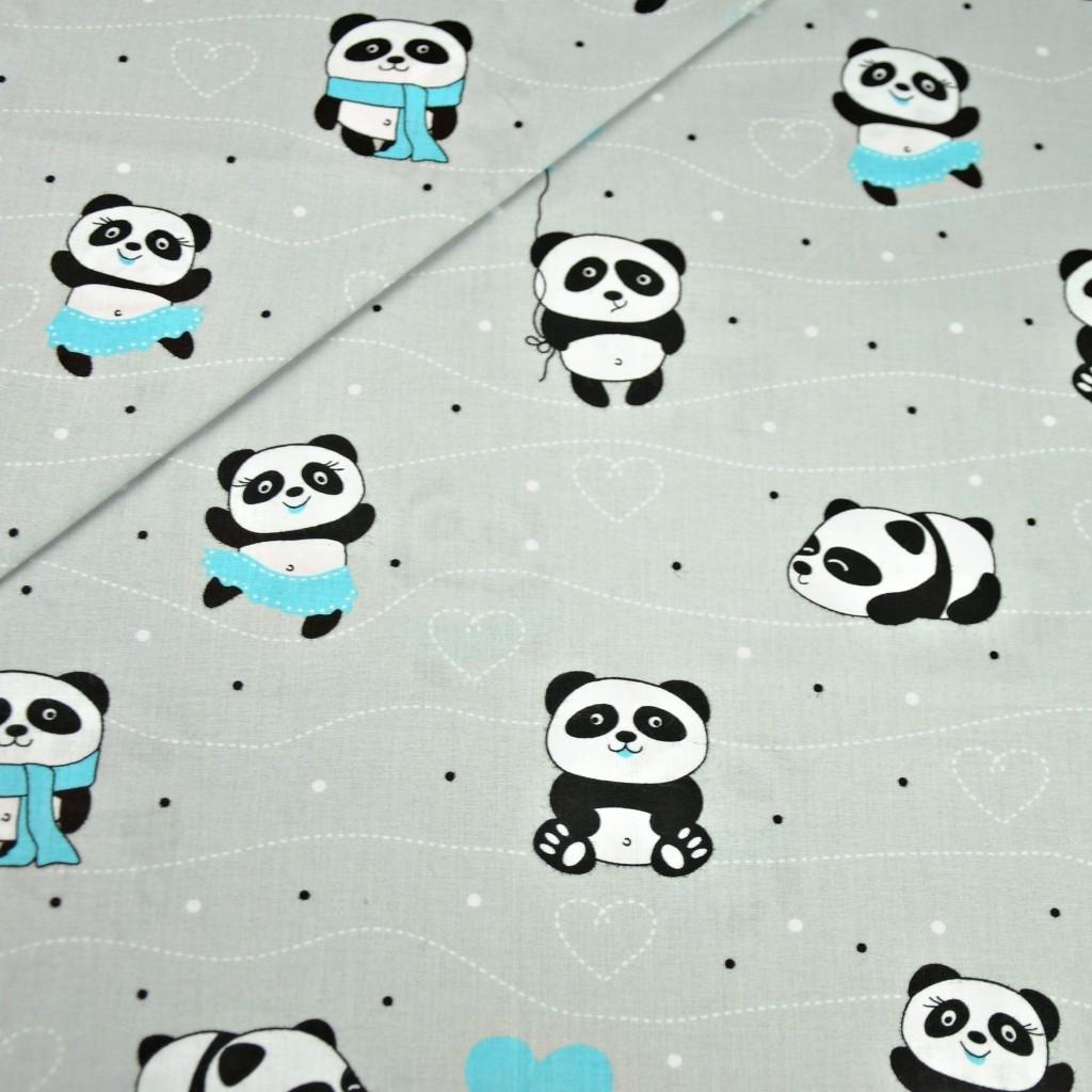 Tkanina w pandy z niebieskim na szarym tle