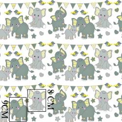 Tkanina w słoniki z proporczykami żółto-turkusowymi na białym tle