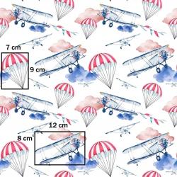 Tkanina w samoloty i spadochrony na białym tle