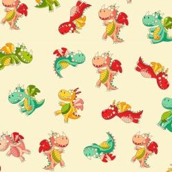 Tkanina w  smoki kolorowe na waniliowym tle