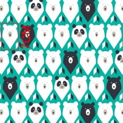 Tkanina w niedźwiedzie na zielonym tle