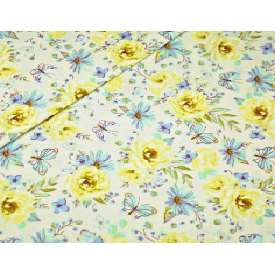 Tkanina w kwiatki z motylkami żółto niebieskie na ecru tle