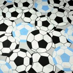 Bawełna Piłki 3D czarno błękitne na szarym tle