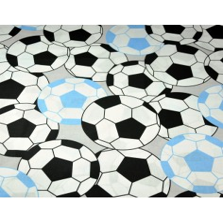 Tkanina w Piłki 3D czarno błękitne na szarym tle